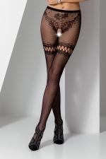 Collants ouverts S015 - Noir : Collants ouverts en résille noire extensible avec un motif de tanga sensuel.