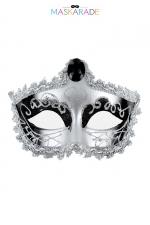 Masque Nozze di Figaro - Maskarade : Loup argenté et brillant, avec bijou sur le front et bordure dentelle, pour se cacher tout en se montrant, par Maskarade.