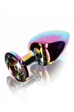 Plug anal Twilight Booty Jewel - Large : plug anal grande taille en aluminium et verre acrylique, dimensions 9,5 x 4,1 cm, corps et bijou arc en ciel, by ToyJoy.